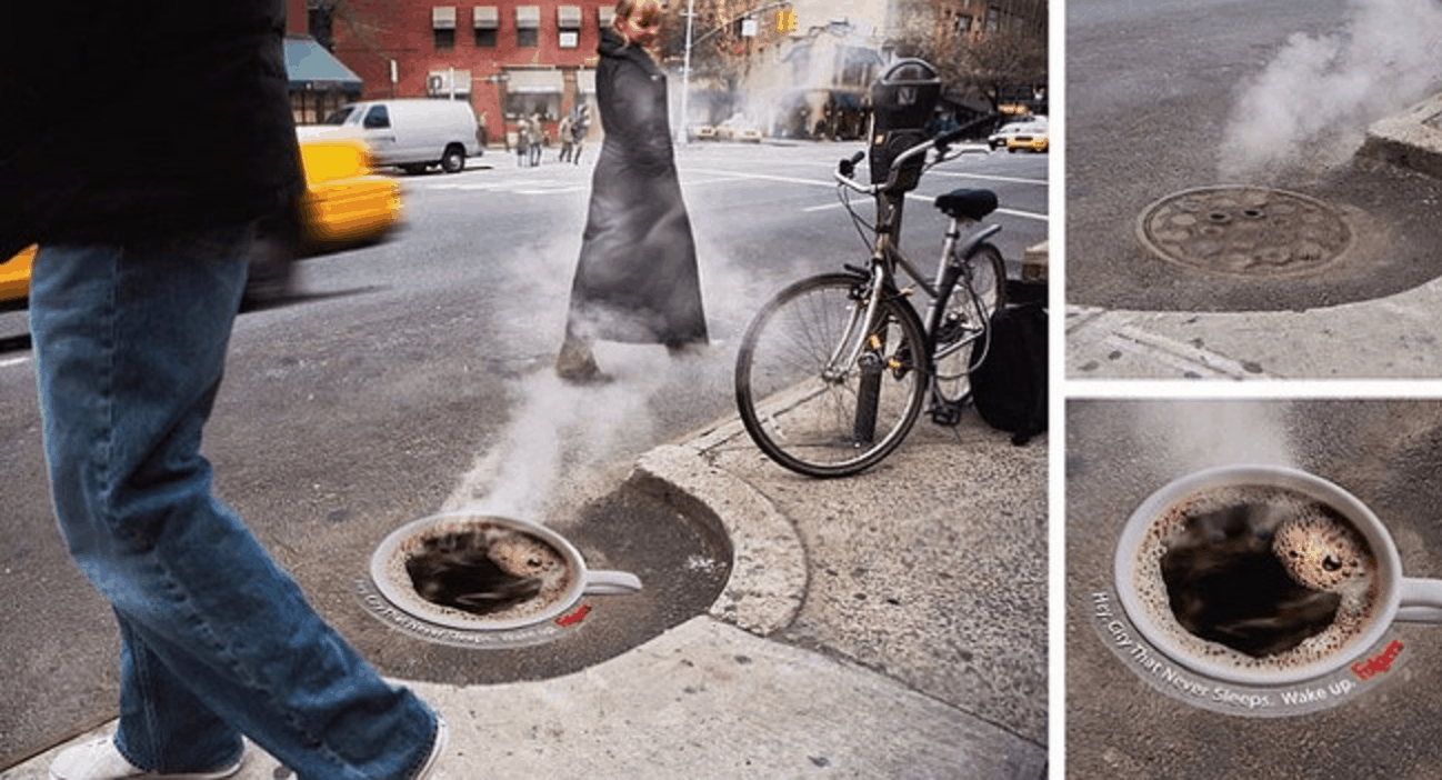 Folgers Coffee steaming manholes guerrilla marketing campaign